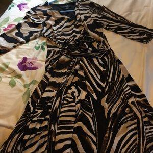 Wrap styled dress with stone swirl pattern